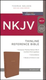NKJV Comfort Print Thinline Reference Bible, Imitation Leather, Tan