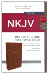 NKJV Comfort Print Deluxe Thinline Reference Bible, Imitation Leather, Brown - Imperfectly Imprinted Bibles