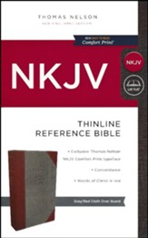 NKJV Comfort Print Thinline Reference Bible, Cloth over Board, Gray and Red