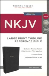 NKJV Comfort Print Thinline Reference Bible, Large Print, Imitation Leather, Black