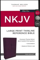 NKJV Comfort Print Thinline Reference Bible, Large Print, Imitation Leather, Purple