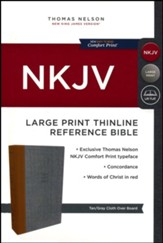 NKJV Comfort Print Thinline Reference Bible, Large Print, Cloth over Board, Tan and Gray - Slightly Imperfect