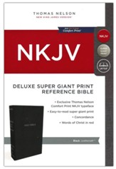 NKJV Comfort Print Deluxe Reference Bible, Super Giant Print, Imitation Leather, Black