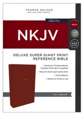 NKJV Comfort Print Deluxe Reference Bible, Super Giant Print, Imitation Leather, Red - Slightly Imperfect