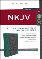 NKJV Comfort Print Deluxe Reference Bible, Super Giant Print, Imitation Leather, Blue