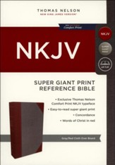 NKJV Comfort Print Reference Bible, Super Giant Print, Cloth over Board, Gray and Red