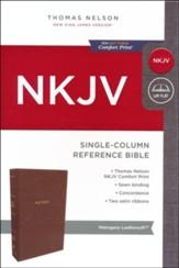 NKJV Comfort Print Single-Column Reference Bible, Imitation Leather, Brown