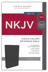 NKJV Comfort Print Single-Column Reference Bible, Genuine Leather, Black - Imperfectly Imprinted Bibles