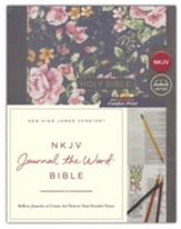 NKJV Comfort Print Journal the Word  Bible, Cloth over Board, Gray Floral
