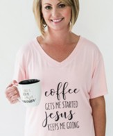 Coffee Gets Me Started Jesus Keeps Me Going Shirt, Pink, Small