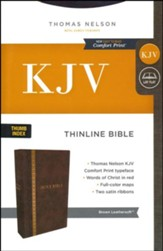 KJV Comfort Print Thinline Bible, Imitation Leather, Brown, Indexed