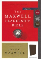 NKJV Comfort Print Maxwell Leadership Bible, Third Edition, Premium Calfskin Leather, Brown - Slightly Imperfect