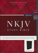 NKJV Comfort Print Study Bible, Premium Bonded Leather, Black