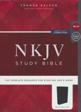 NKJV Comfort Print Study Bible, Premium Bonded Leather, Black, Indexed