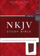 NKJV Comfort Print Study Bible, Imitation Leather, mahogany