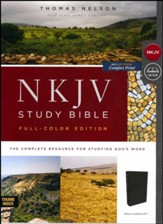 NKJV Comfort Print Full Color Study Bible, Imitation Leather, Black, Indexed