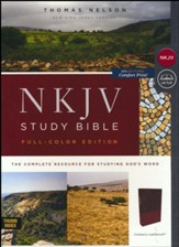 NKJV Comfort Print Full Color Study Bible, Imitation Leather, cranberry, indexed