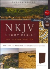 NKJV Comfort Print Full Color Study Bible, Premium Calfskin Leather, Brown - Slightly Imperfect
