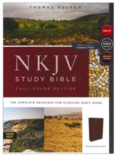 NKJV Comfort Print Full Color Study Bible, Premium Calfskin Leather, Brown, Indexed - Imperfectly Imprinted Bibles