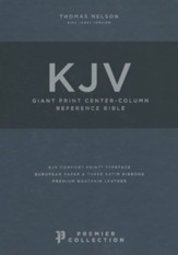 KJV Comfort Print Reference Bible, Giant Print, Premier Leather, Black, Premier Collection