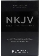 NKJV Comfort Print Single-Column Reference Bible, Premium Leather, Black, Premier Collection