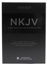 NKJV Comfort Print Thinline  Reference Bible, Large Print, Premium Leather, Black, Premier Collection