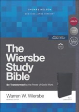 NKJV, Wiersbe Study Bible,  Leathersoft, Black, Comfort Print