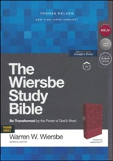 NKJV, Wiersbe Study Bible,  Leathersoft, Burgundy, Indexed, Comfort Print