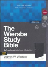 NKJV, Wiersbe Study Bible,  Leathersoft, Black, Indexed, Comfort Print