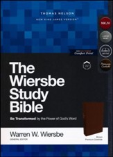 NKJV, Wiersbe Study Bible, Genuine Leather, Brown, Comfort Print