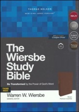 NKJV, Wiersbe Study Bible, Genuine Leather, Brown, Indexed, Comfort Print
