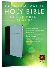 NLT Premium Value Large-Print Slimline Bible--soft  leather-look, chocolate/blue - Imperfectly Imprinted Bibles