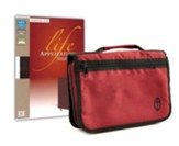 NIV Life Application Bible, Personal Size--bonded leather, burgundy with canvas cover
