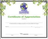 World Changers: Certificate of Appreciation