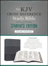 KJV Cross Reference Study Bible, Students' Edition--soft leather-look, gray (indexed)