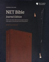 NET Comfort Print Bible, Journal Edition--soft leather-look, brown