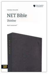 NET Comfort Print Thinline Bible--soft leather-look, black (indexed)