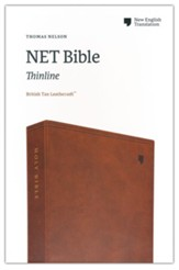 NET Comfort Print Thinline Bible--soft leather-look, brown