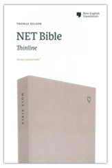 NET Comfort Print Thinline Bible--soft leather-look, stone