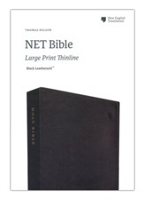 NET Large-Print Thinline Bible--soft leather-look, black