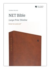 NET Large-Print Thinline Bible--soft leather-look, brown