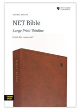 NET Large-Print Thinline Bible--soft leather-look, brown (indexed)