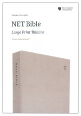 NET Large-Print Thinline Bible--soft leather-look, stone