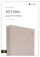 NET Large-Print Thinline Bible--soft leather-look, stone (indexed)