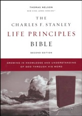 NKJV Charles F. Stanley Life Principles Bible, Comfort Print--soft leather-look, burgundy