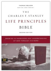 NKJV Charles F. Stanley Life Principles Bible, Comfort Print--soft leather-look, burgundy (indexed)