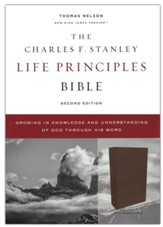 NKJV Charles F. Stanley Life Principles Bible, Comfort Print--genuine leather, brown
