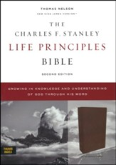 NKJV Charles F. Stanley Life Principles Bible, Comfort Print--genuine leather, brown (indexed)