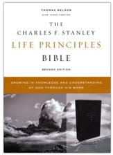 KJV Charles F. Stanley Life Principles Bible, Comfort Print--soft leather-look, black