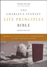 KJV Charles F. Stanley Life Principles Bible, Comfort Print--soft leather-look, burgundy